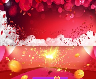 高清大紅色花瓣煙火背景素材