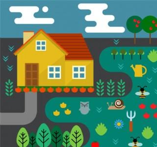 卡通房屋和菜地矢量素材