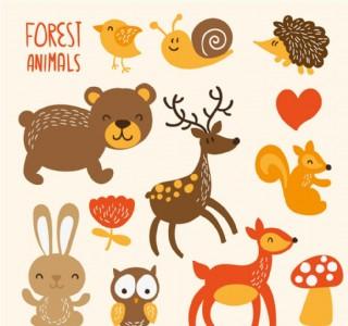卡通森林動物矢量素材