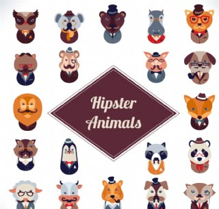 时尚动物头像矢量图