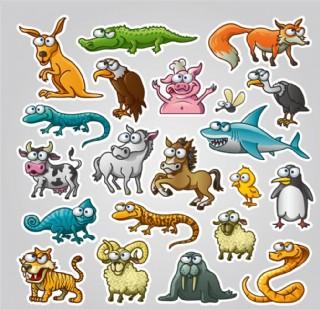 卡通动物贴纸矢量素材