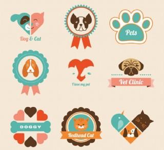 卡通寵物標簽矢量設計