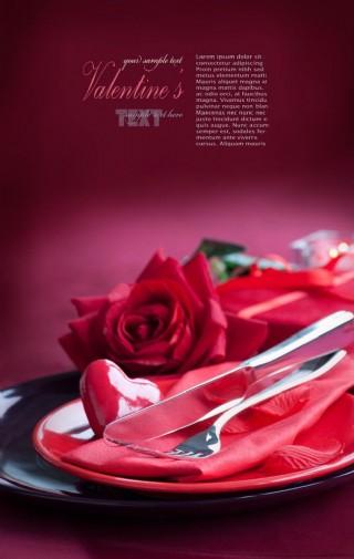 玫瑰花与刀叉图片